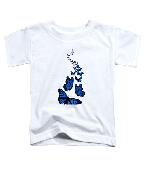 Trail Of The Blue Butterflies Transparent Background Toddler T-Shirt
