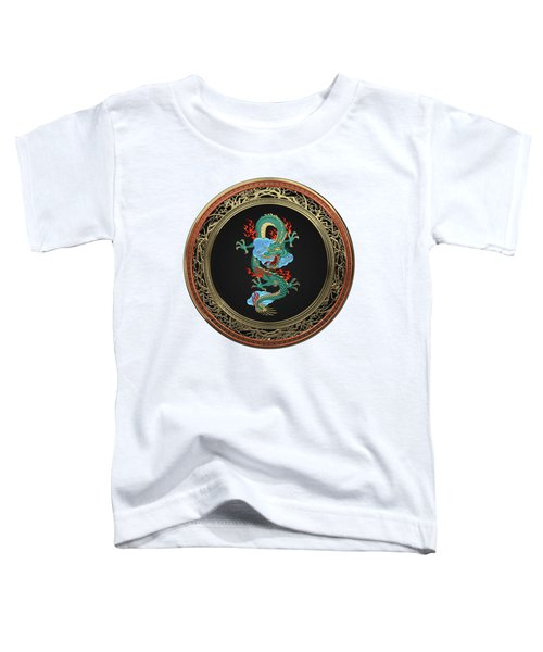 Treasure Trove - Turquoise Dragon Over White Leather Toddler T-Shirt by Serge Averbukh