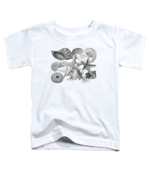 Treasures Of The Deep In Mono On White Toddler T-Shirt