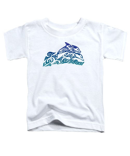 Tribal Dolphins Toddler T-Shirt by Rebecca Wang