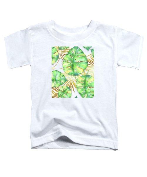 Tropical Haze Blanche Variegated Monstera Leaves, Golden Palm Fronds On Black Toddler T-Shirt