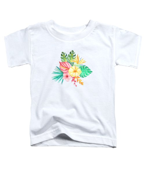 Tropical Watercolor Bouquet 6 Toddler T-Shirt