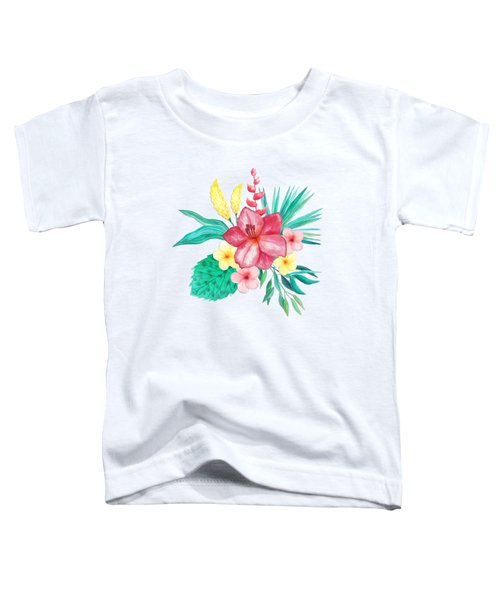 Tropical Watercolor Bouquet 9 Toddler T-Shirt