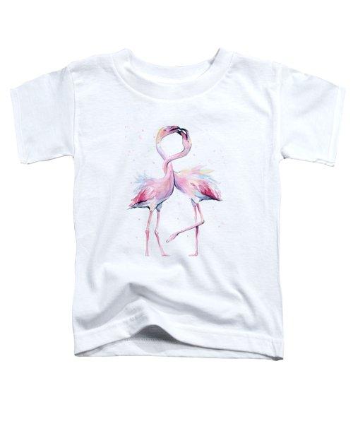 Two Flamingos Watercolor Famingo Love Toddler T-Shirt