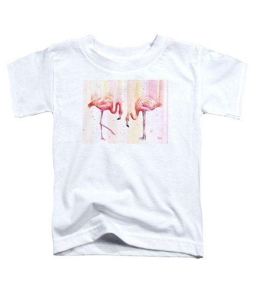 Two Flamingos Watercolor Toddler T-Shirt