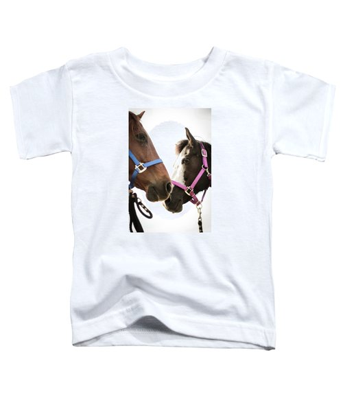 Two Horses Nose To Nose In Color Toddler T-Shirt
