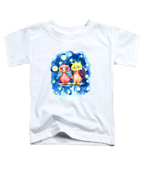 Two Owls And A Starry Night Toddler T-Shirt