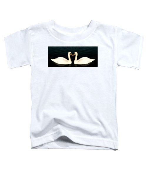 Two Symmetrical White Love Swans Toddler T-Shirt