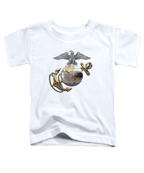 U S M C Eagle Globe And Anchor - C O And Warrant Officer E G A Over White Leather Toddler T-Shirt