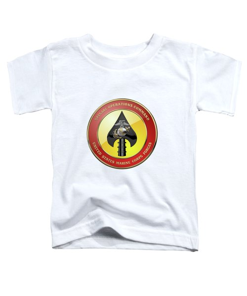 U S M C  Forces Special Operations Command -  M A R S O C  Seal Over White Leather Toddler T-Shirt