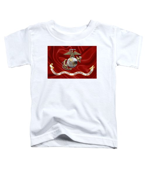 U. S.  Marine Corps - U S M C Eagle Globe And Anchor Over Corps Flag Toddler T-Shirt
