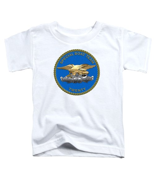 U. S. Navy S W C C - Special Boat Team 20   -  S B T 20   Patch Over White Leather Toddler T-Shirt