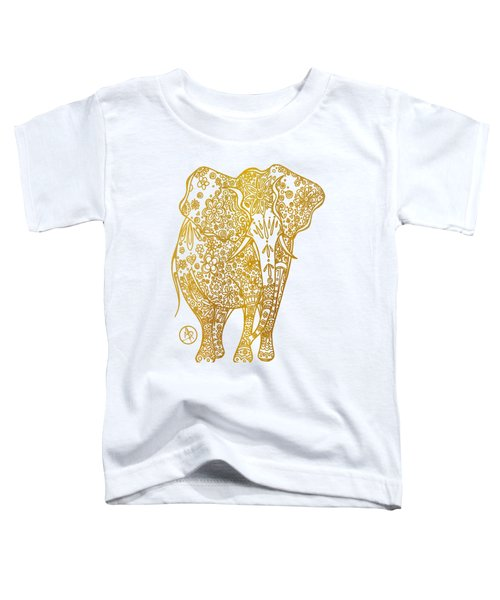 Unique Golden Elephant Art Drawing By Megan Duncanson Toddler T-Shirt by Megan Duncanson