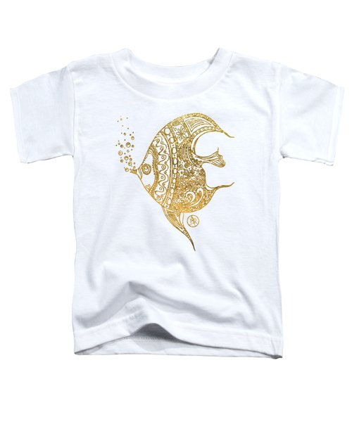 Unique Golden Tropical Fish Art Drawing By Megan Duncanson Toddler T-Shirt