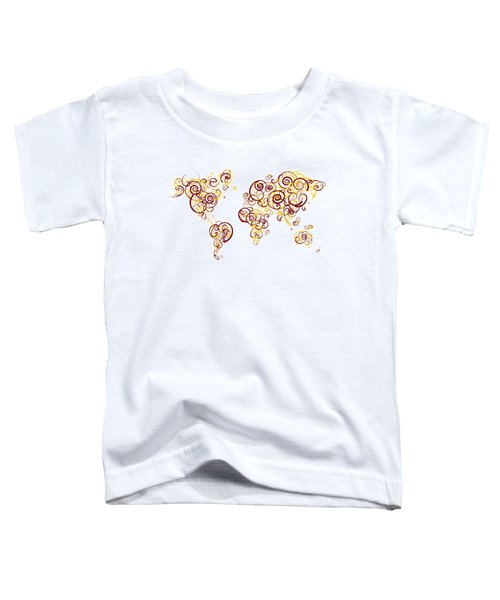 University Of Minnesota Twin Cities Colors Swirl Map Of The Worl Toddler T-Shirt by Jurq Studio