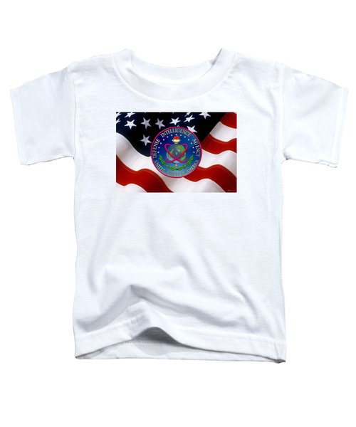 U. S. Defense Intelligence Agency - D I A Emblem Over Flag Toddler T-Shirt