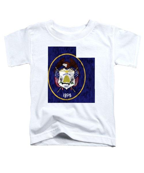 Utah Map Art With Flag Design Toddler T-Shirt
