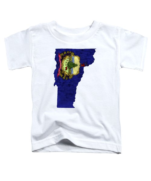 Vermont Map Art With Flag Design Toddler T-Shirt
