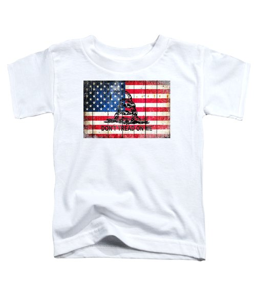 Viper On American Flag On Old Wood Planks Toddler T-Shirt