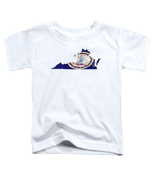 Virginia Map Art With Flag Design Toddler T-Shirt
