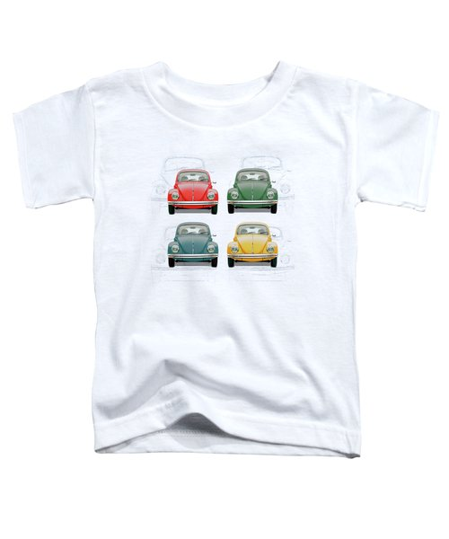 Volkswagen Type 1 - Variety Of Volkswagen Beetle On Vintage Background Toddler T-Shirt
