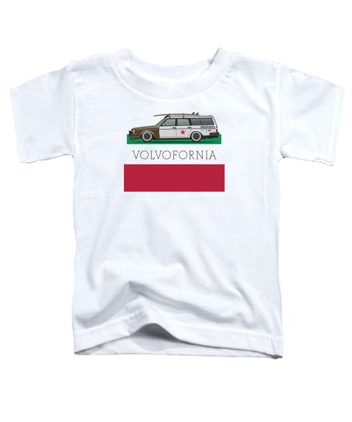 Volvofornia Slammed Volvo 245 240 Wagon California Style Toddler T-Shirt by Monkey Crisis On Mars