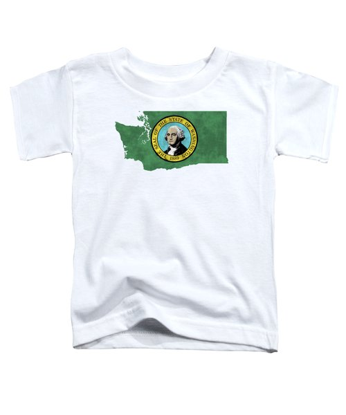 Washington Map Art With Flag Design Toddler T-Shirt