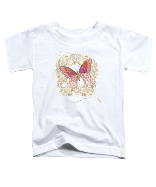 Watercolor Butterfly With Vintage Swirl Scroll Flourishes Toddler T-Shirt