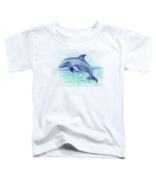 Watercolor Dolphin Painting - Facing Right Toddler T-Shirt