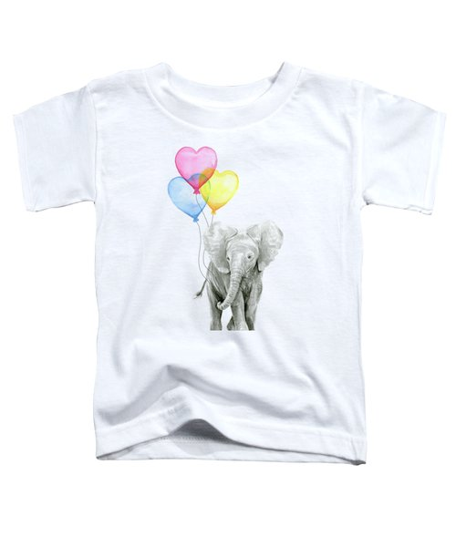 Watercolor Elephant With Heart Shaped Balloons Toddler T-Shirt by Olga Shvartsur