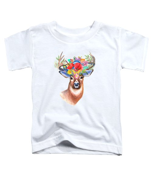 Watercolor Fairytale Stag With Crown Of Flowers Toddler T-Shirt