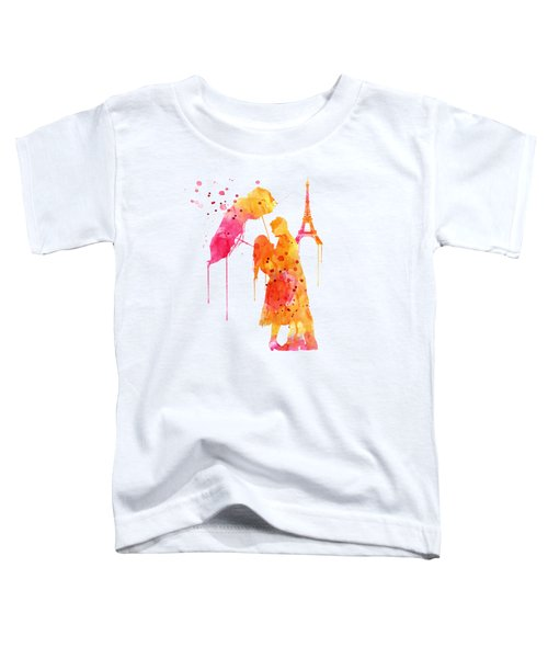 Watercolor Love Couple In Paris Toddler T-Shirt by Marian Voicu