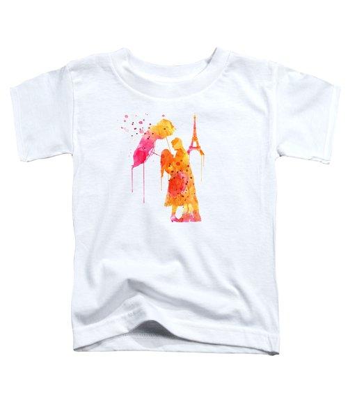 Watercolor Love Couple In Paris Toddler T-Shirt