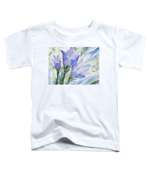 Watercolor - Pasque Flowers Toddler T-Shirt