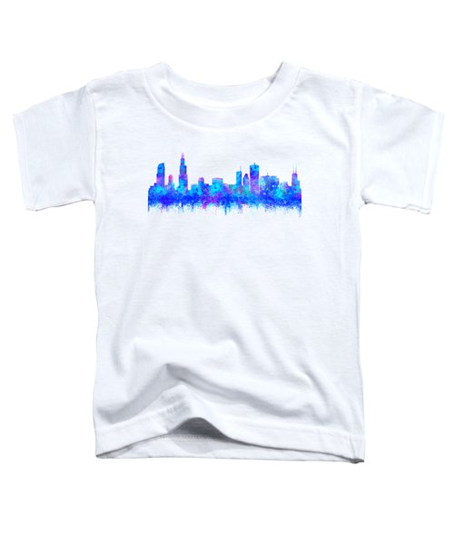 Watercolour Splashes And Dripping Effect Chicago Skyline Toddler T-Shirt