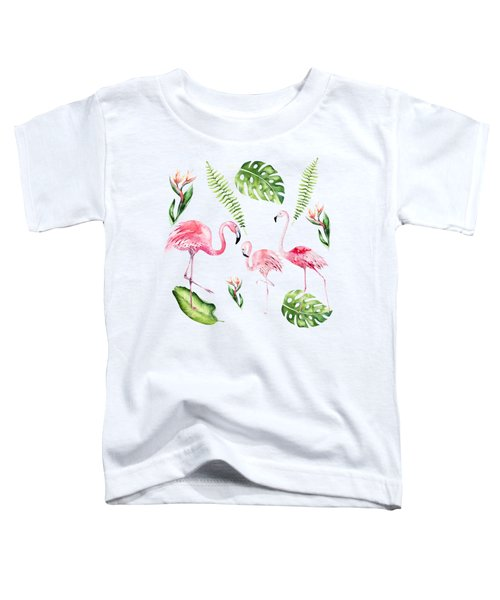 Watercolour Tropical Beauty Flamingo Family Toddler T-Shirt