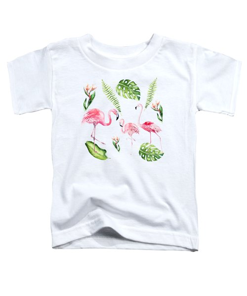 Toddler T-Shirt featuring the painting Watercolour Tropical Beauty Flamingo Family by Georgeta Blanaru