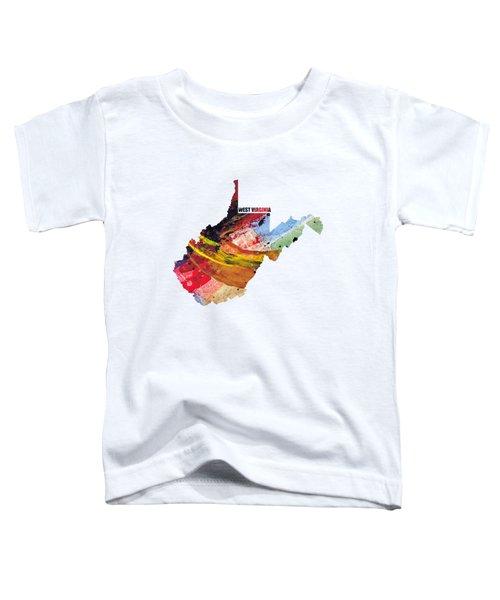 West Virginia Map Art - Painted Map Of West Virginia Toddler T-Shirt