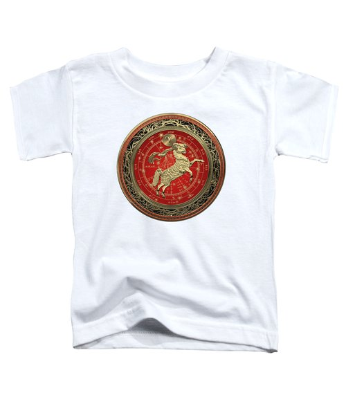Western Zodiac - Golden Aries -the Ram On White Leather Toddler T-Shirt