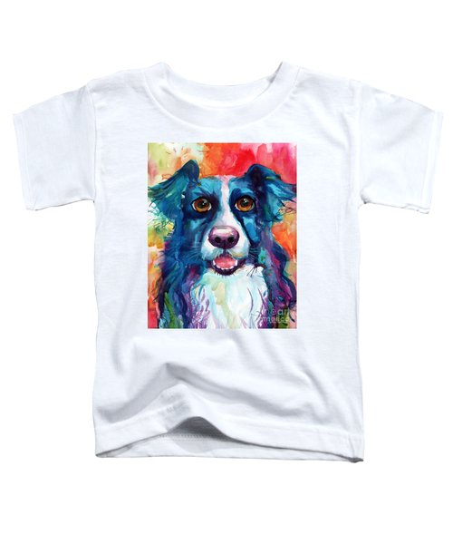 Whimsical Border Collie Dog Portrait Toddler T-Shirt
