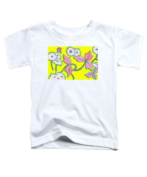 White Flowers On Bright Yellow With Light Purple Leaves Pattern Toddler T-Shirt