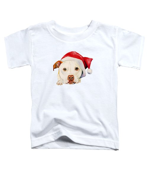 White Pit Bull Terrier Dog With Santa Hat Portrait Toddler T-Shirt