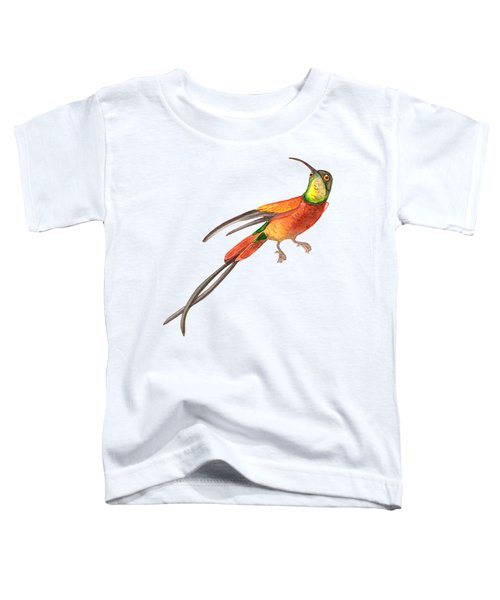 Winged Jewel 6, Watercolor Tropical Rainforest Hummingbird Red, Yellow, Orange And Green Toddler T-Shirt