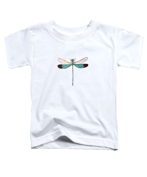 Winged Jewels 1, Watercolor Tropical Dragonfly Aqua Blue Black Toddler T-Shirt