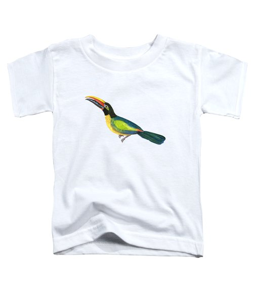 Winged Jewels 2, Watercolor Toucan Rainforest Birds Toddler T-Shirt