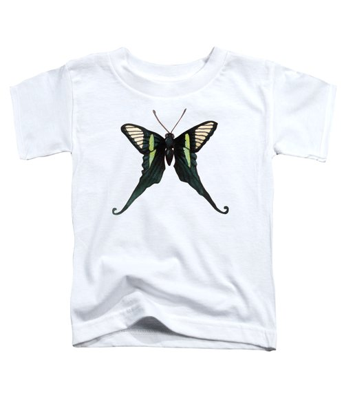 Winged Jewels 3, Watercolor Tropical Butterfly With Curled Wing Tips Toddler T-Shirt