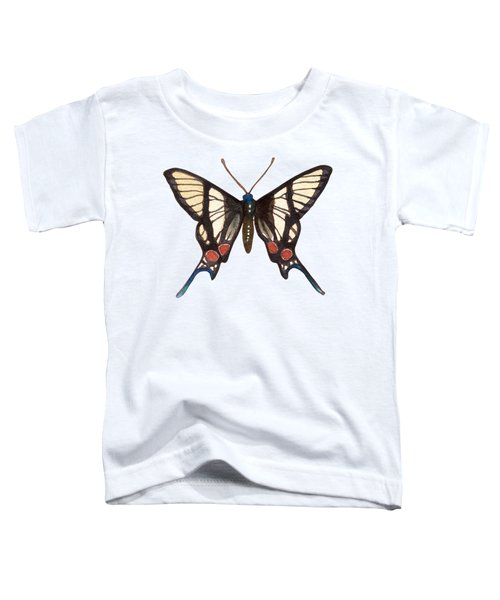 Winged Jewels 4, Watercolor Tropical Butterflie Black White Red Spots Toddler T-Shirt