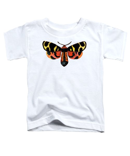 Winged Jewels 5, Watercolor Moth Black Yellow Orange And Red Tropical Toddler T-Shirt