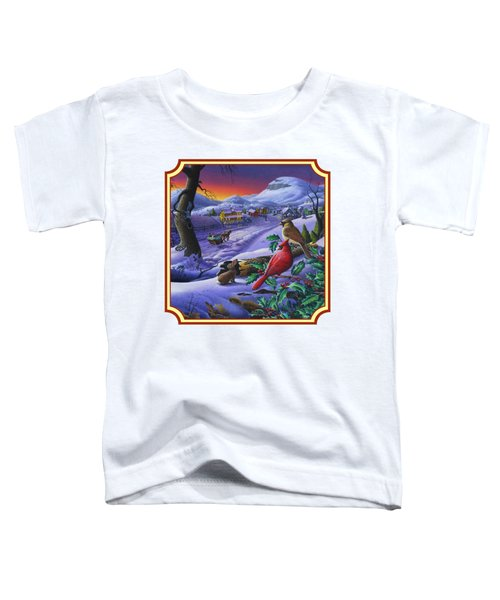 Winter Mountain Landscape - Cardinals On Holly Bush - Small Town - Sleigh Ride - Square Format Toddler T-Shirt