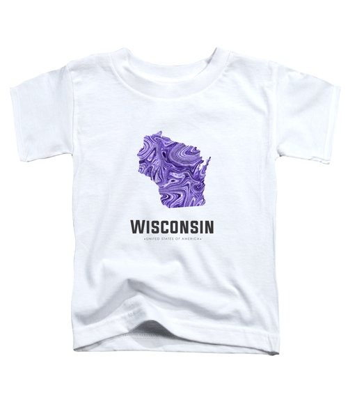 Wisconsin Map Art Abstract In Violet Toddler T-Shirt